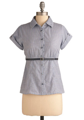 Check Please Top - Blue, White, Checkered / Gingham, Work, Casual, Short Sleeves, Mid-length