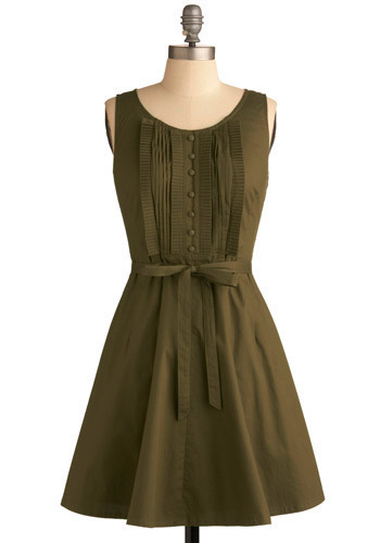 Olive Branch Dress - Green, Solid, Bows, Buttons, Pleats, Party, Casual, A-line, Sleeveless, Mid-length