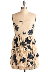 The Special Girl Dress - Cream, Blue, Floral, Ruffles, Tiered, Party, Casual, Empire, Strapless, Spring, Summer, Short