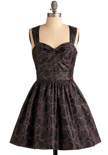 Loops and Bounds Dress - Black, Purple, Print, Cutout, Formal, Prom, Wedding, Party, Casual, A-line, Tank top (2 thick straps), Short