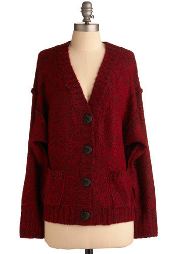North Highlands Cardigan - Red, Solid, Buttons, Long Sleeve, Fall, Winter, Mid-length