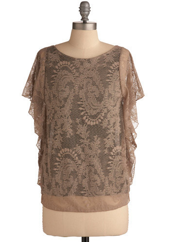 Antique Affections Top - Brown, Floral, Lace, Casual, Short Sleeves, Mid-length