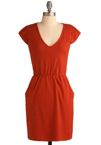 Gourd-eous Dress - Red, Solid, Casual, Shift, Cap Sleeves, Mid-length