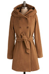 Coat of Gibraltar - Tan, Solid, Bows, Buttons, Pockets, Work, Casual, Long Sleeve, Fall, Winter, Long