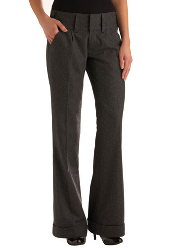 Ace Reporter Pants by Tulle Clothing - Grey, Solid, Pleats, Pockets, Work, Casual, Fall, Winter, Long