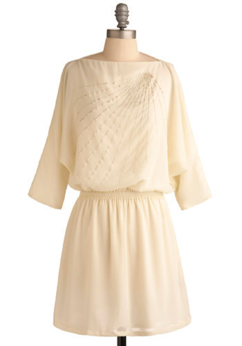 Fevered Rays Dress - Cream, Silver, Beads, Casual, Urban, A-line, 3/4 Sleeve, Mid-length