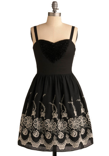 Evening Enchantress Dress - Black, Tan / Cream, Grey, Floral, Casual, A-line, Spaghetti Straps, Mid-length