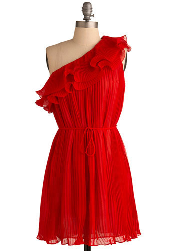 Weak in the Knees Dress - Red, Solid, Pleats, Ruffles, Special Occasion, Wedding, Party, Casual, Shift, One Shoulder, Mid-length