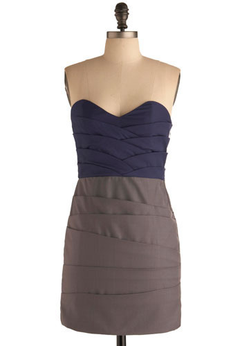 Girl Band Dress - Blue, Grey, Pleats, Wedding, Party, Shift, Strapless, Spaghetti Straps, Short