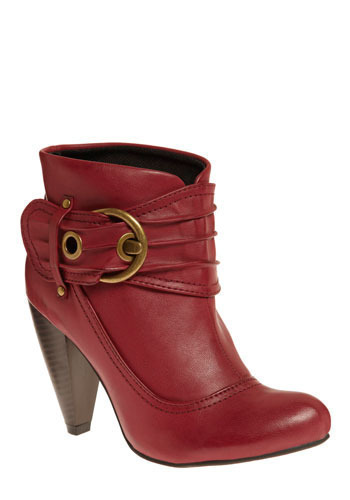 Last Laugh Bootie - Red, Solid, Buckles, Eyelet, Work, Casual