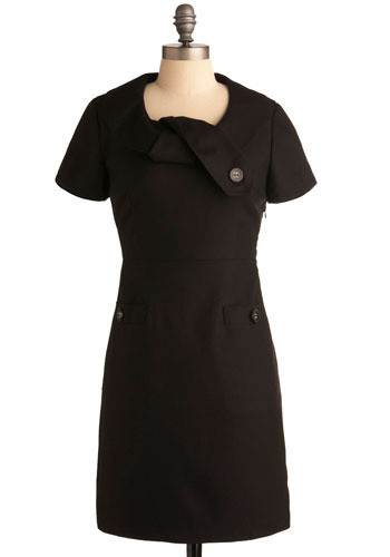 Art Director Dress - Black, Solid, Buttons, Work, Casual, Shift, Cap Sleeves, Mid-length