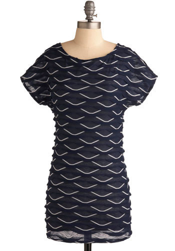 Whitecap Waters Tunic - Blue, White, Scallops, Casual, Short Sleeves, Spring, Summer, Long