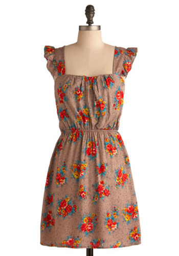 Hayride Honey Dress - Brown, Red, Multi, Floral, Cutout, Ruffles, Casual, A-line, Cap Sleeves, Spring, Summer, Short