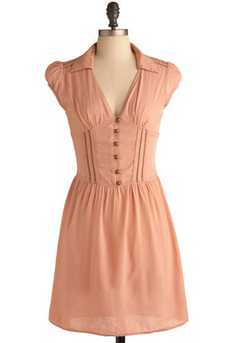 Love Songs Dress in Pink - Pink, Solid, Buttons, Casual, A-line, Cap Sleeves, Short