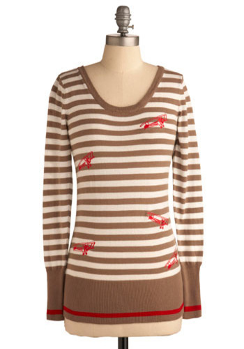 Plane and Simple Sweater - Brown, White, Red, Stripes, Casual, Long Sleeve, Fall, Winter, Mid-length