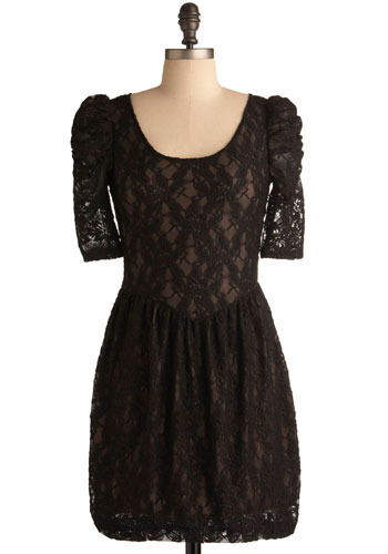 Lace Time Dress in Black - Black, Floral, Lace, Party, Casual, Shift, 3/4 Sleeve, Short