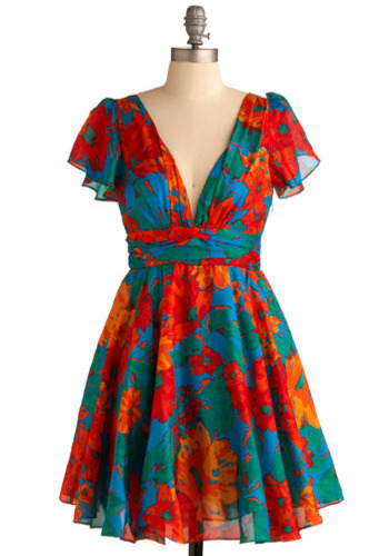 Tropical Dreams Dress - Red, Orange, Green, Blue, Floral, Casual, A-line, Short Sleeves, Short