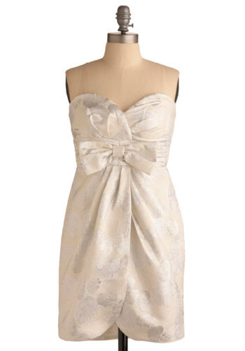 Bright Starlet Dress - Cream, White, Floral, Bows, Pleats, Special Occasion, Prom, Wedding, Party, Luxe, Empire, Strapless, Mid-length