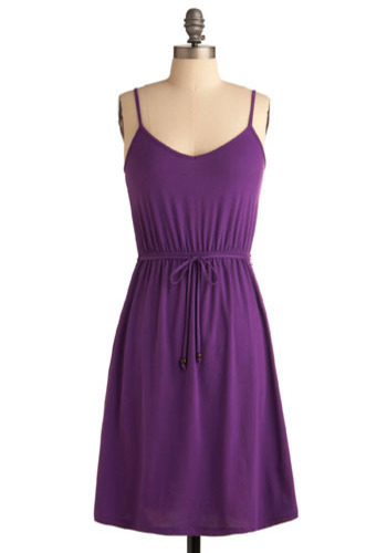 Morning Bodega Run Dress - Purple, Solid, Casual, A-line, Spaghetti Straps, Spring, Summer, Short