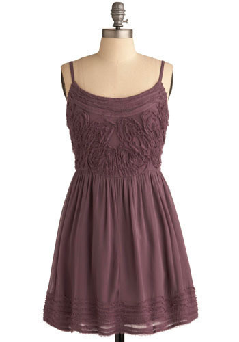 Contour Map Dress - Purple, Solid, Casual, A-line, Spaghetti Straps, Mid-length