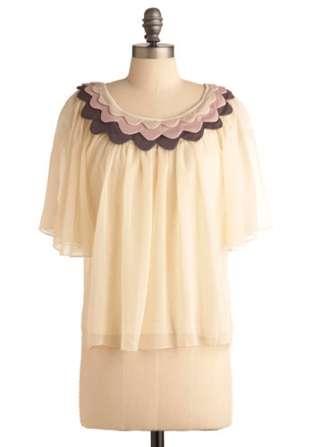 Joie de Vivre Top - Yellow, Pink, Tan / Cream, Grey, Scallops, Tiered, Casual, Short Sleeves, Mid-length