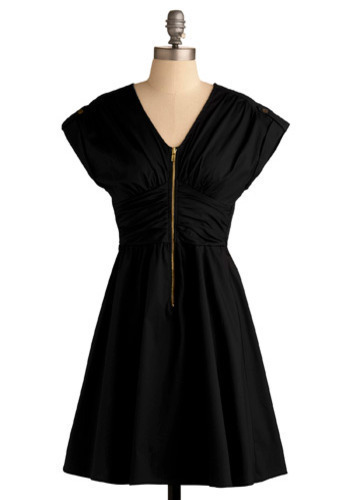 All-Expense-Paid Dress in Getaway - Black, Solid, Exposed zipper, A-line, Short Sleeves, Mid-length
