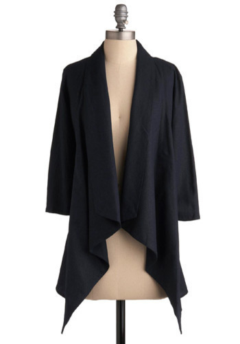 One and a Two Blazer - Blue, Solid, Work, Casual, 3/4 Sleeve, Fall, Long