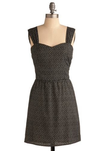 Stormy Equinox Dress - Black, Grey, Print, Cutout, Casual, A-line, Tank top (2 thick straps), Mid-length