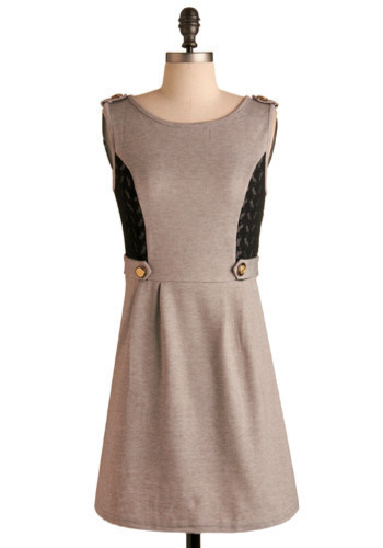 Madame Speaker Dress - Grey, Black, Solid, Buttons, Epaulets, Lace, Casual, A-line, Sleeveless, Spring, Summer, Fall, Short, Military