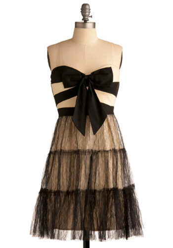 Classic Combination Dress - Black, White, Solid, Stripes, Bows, Lace, Ruffles, Special Occasion, Party, A-line, Strapless, Mid-length