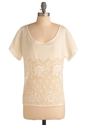 Games by Firelight Top - White, Floral, Knitted, Lace, Casual, Short Sleeves, Spring, Summer, Mid-length