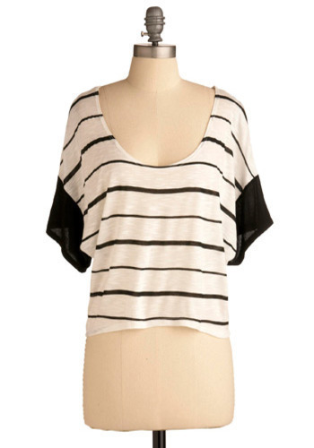 Pen and Ink Artist Top - White, Black, Stripes, Casual, Short Sleeves, Spring, Summer, Fall