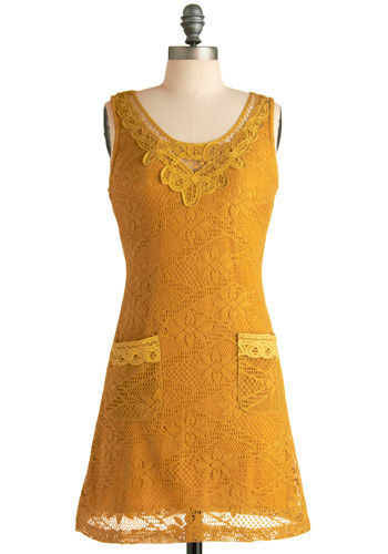 Delicately Dijon Dress - Yellow, Floral, Lace, Casual, Shift, Sleeveless, Short