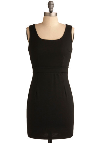 Simply Sophisticated Dress - Black, Solid, Work, Casual, Shift, Tank top (2 thick straps), Short