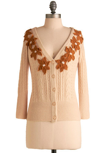 Fall Flowers Cardigan by Nick & Mo - Cream, Orange, Buttons, Flower, Knitted, Pearls, Casual, Long Sleeve, Fall, Winter, Mid-length