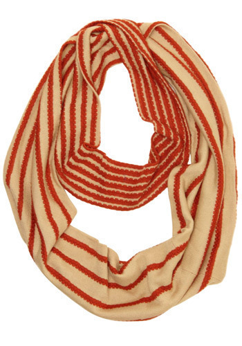 Leaf Catching Scarf - Red, Cream, Stripes, Knitted, Casual