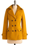 Saucy Saffron Coat - Yellow, Solid, Buttons, Pockets, Long Sleeve, Fall, Winter, Mid-length