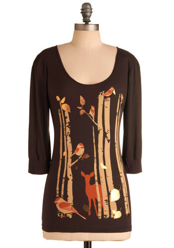 Fawn-a Studies Top - Brown, Orange, Tan / Cream, Print with Animals, Casual, 3/4 Sleeve, Fall, Mid-length
