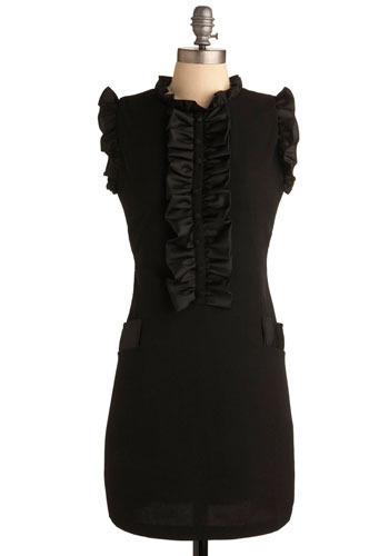 The Mary Shelley Dress - Black, Solid, Ruffles, Party, Casual, Shift, Sleeveless, Short