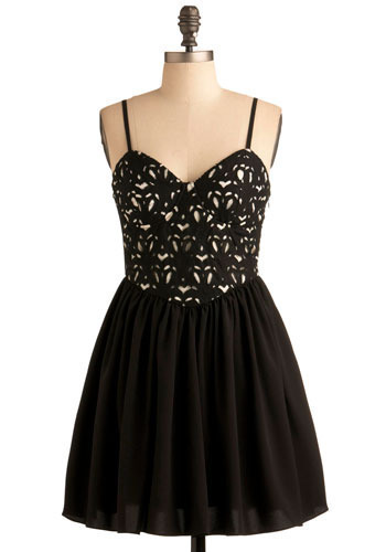 City Overlook Dress - Black, Black, White, Print, Casual, A-line, Spaghetti Straps, Short