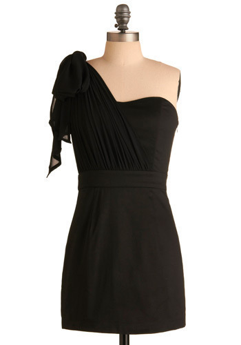 Ebony and Flow Dress - Black, Solid, Bows, Special Occasion, Prom, Wedding, Party, Luxe, Sheath / Shift, One Shoulder, Short