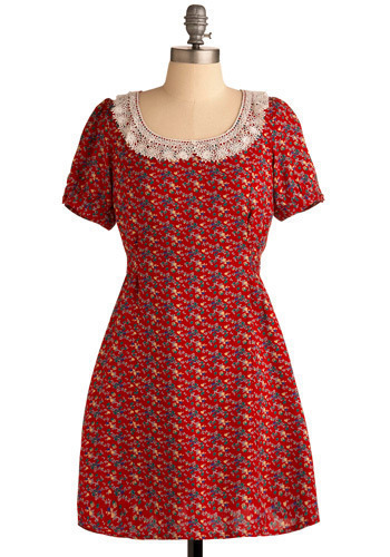 Graubünden Dress - Red, Multi, Yellow, Green, Blue, Brown, Tan / Cream, Floral, Lace, Casual, A-line, Short Sleeves, Spring, Summer, Short, Press Placement