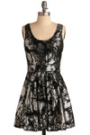 Gather Your Glitz Dress - Silver, Black, Sequins, Special Occasion, Party, A-line, Tank top (2 thick straps), Short
