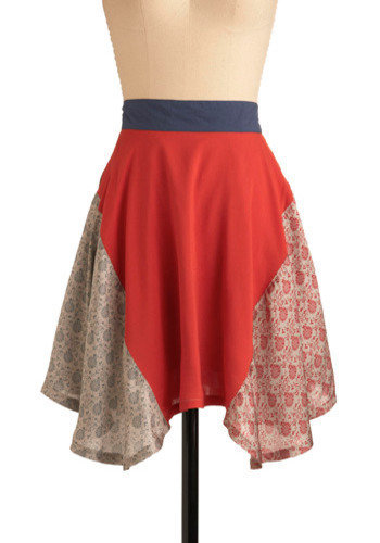 Tulsi Tea Skirt - Red, Floral, Casual, Spring, Summer, Print, Mid-length, Boho, Blue, White