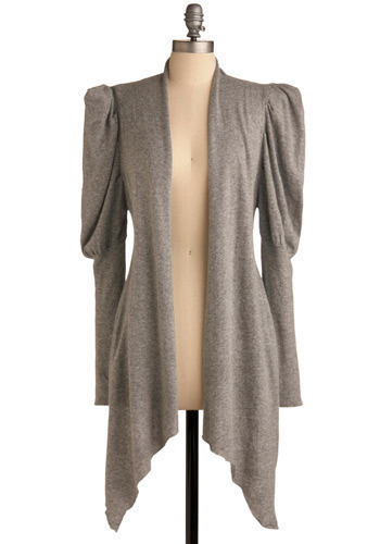 Fond of Fun Cardigan - Grey, Solid, Work, Casual, Long Sleeve, Fall