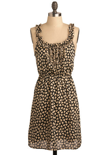 Heart-y and Hardy Dress - Cream, Black, Print, Ruffles, Casual, A-line, Spaghetti Straps, Spring, Summer, Mid-length