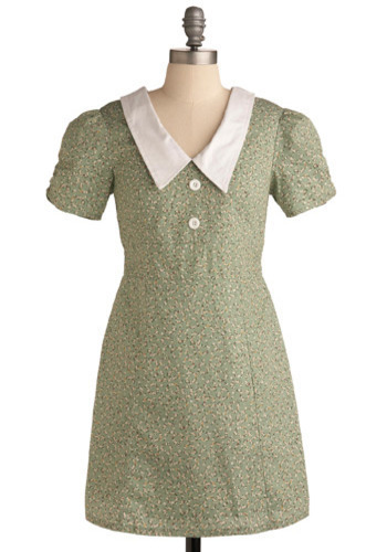 Peppermint Pansies Dress - Green, Yellow, White, Floral, Peter Pan Collar, Casual, A-line, Short Sleeves, Spring, Summer, Short