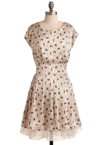 Play Your Cats Right Dress - Cream, Black, Multi, Print with Animals, Casual, A-line, Cap Sleeves