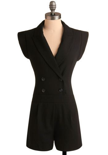 Bandleader Romper - Black, Solid, Buttons, Pleats, Pockets, Work, Casual, Sleeveless, Spring, Summer, Long