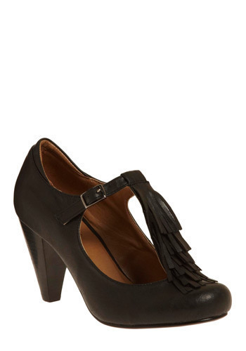 Grazing Main Street Heels - Black, Solid, Fringed, High, Good, T-Strap